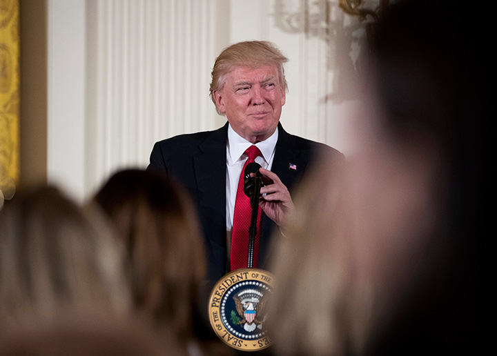 In this March 29, 2017 file photo, President Donald Trump pauses while speaking in the East Room of the White House in Washington.