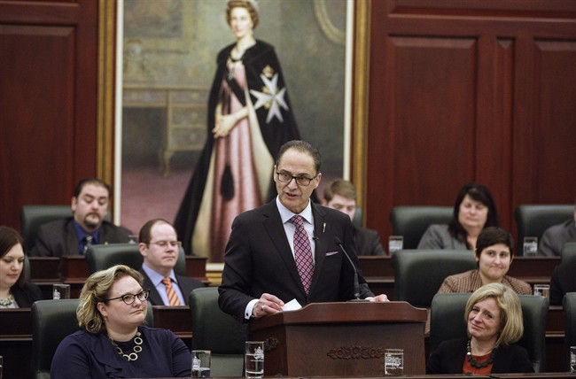 Alberta Finance Minister Joe Ceci tables the 2017 provincial budget, in Edmonton on Thursday, March 16, 2017.