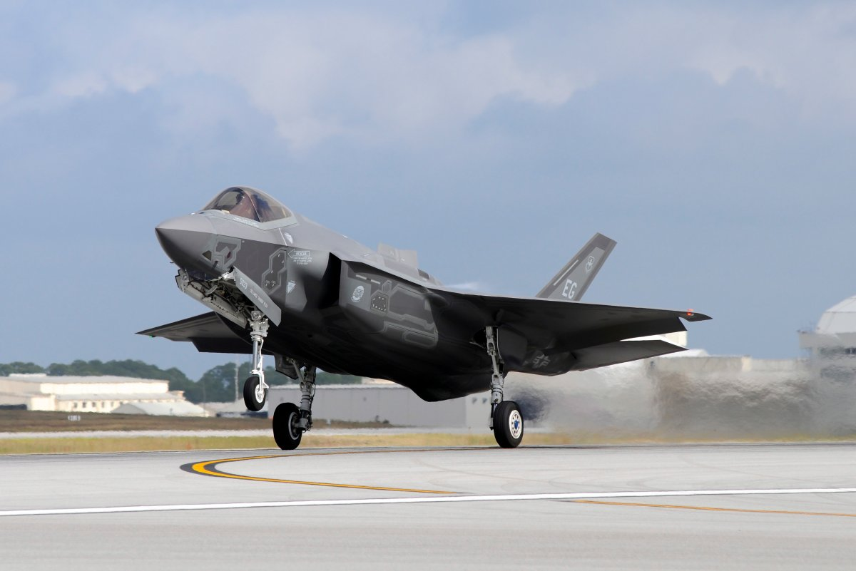 An F-35A from 58th Fighter Squadron, 33rd Fighter Wing, taking off from Eglin Air Force Base, Florida, before a training mission.