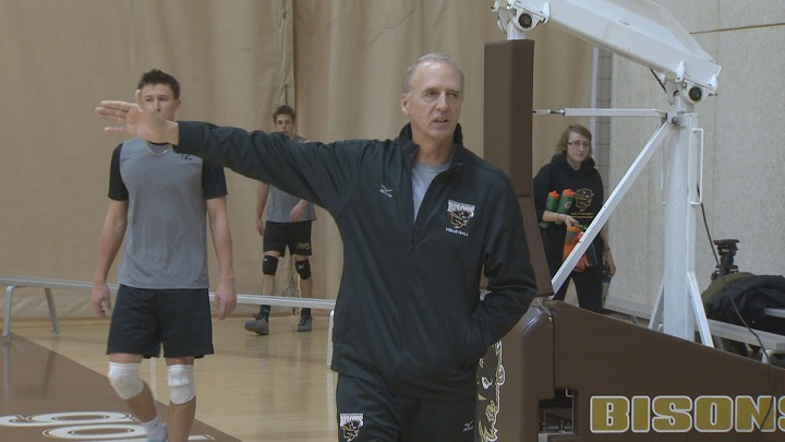 Manitoba Bisons men's volleyball head coach Garth Pischke oversees practice.