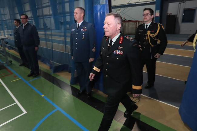 Chief of Defence Staff General Jonathan Vance arrives before a town hall meeting with cadets at the Royal Military College of Canada in Kingston, Ont., on Wednesday, March 29, 2017.