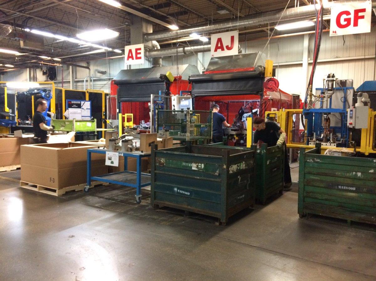 Metal stamping at Marwood Metal Fabrication Ltd. in Tillsonburg.