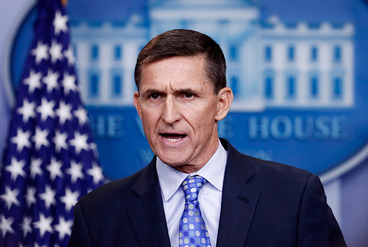 In this Feb. 1, 2017 file photo, National Security Adviser Michael Flynn speaks during the daily news briefing at the White House, in Washington.