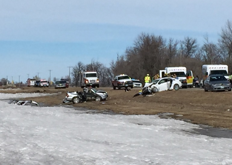 Nine people were sent to hospital after two vehicles collided head on near Winkler, Man., Sunday afternoon.