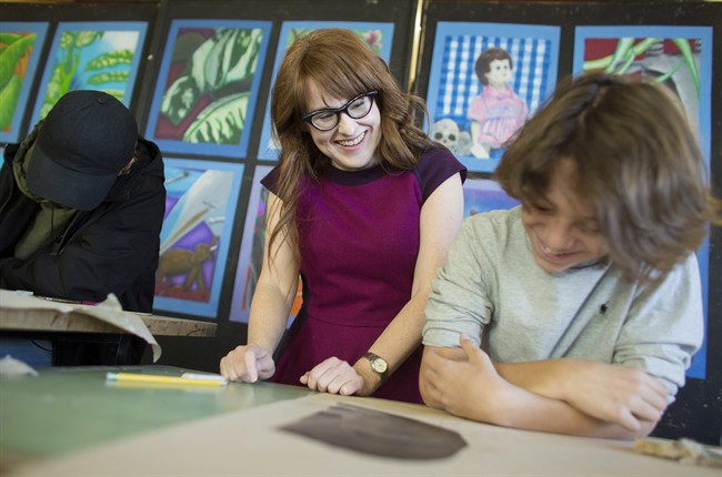 Diana Panton instructs a class of Grade 9 French Immersion students during an art class at Westdale Secondary School in Hamilton on March 23, 2017.