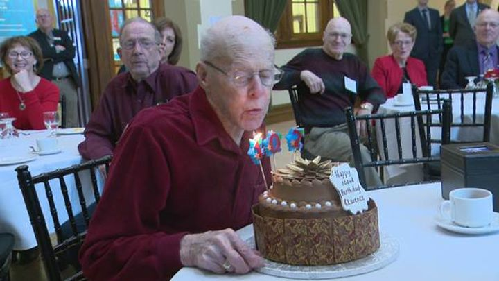 Clarence Hollingworth celebrates his 102nd birthday at SAIT in Calgary on March 2, 2017.