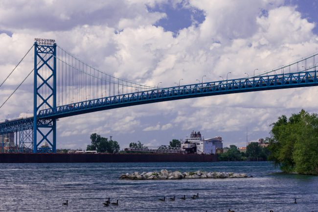 The Ambassador bridge seen from the Canadian side of the Detroit River in Windsor, Ont., July 19, 2016.
