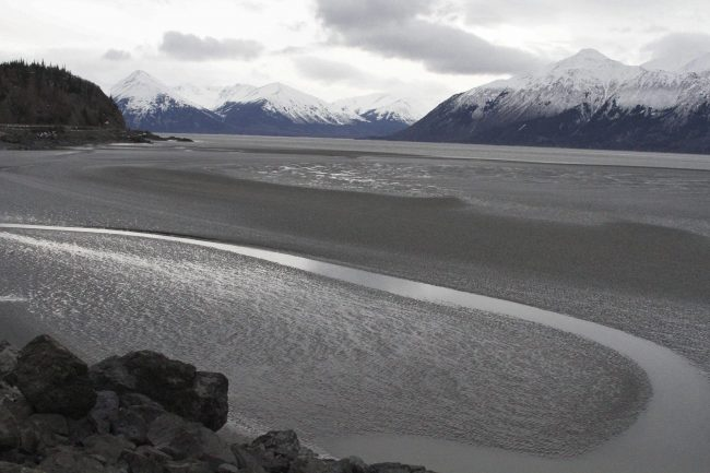 A ribbon of water cuts through the mud flats of Cook Inlet, just off the shore of Anchorage, Alaska, March 7, 2016.