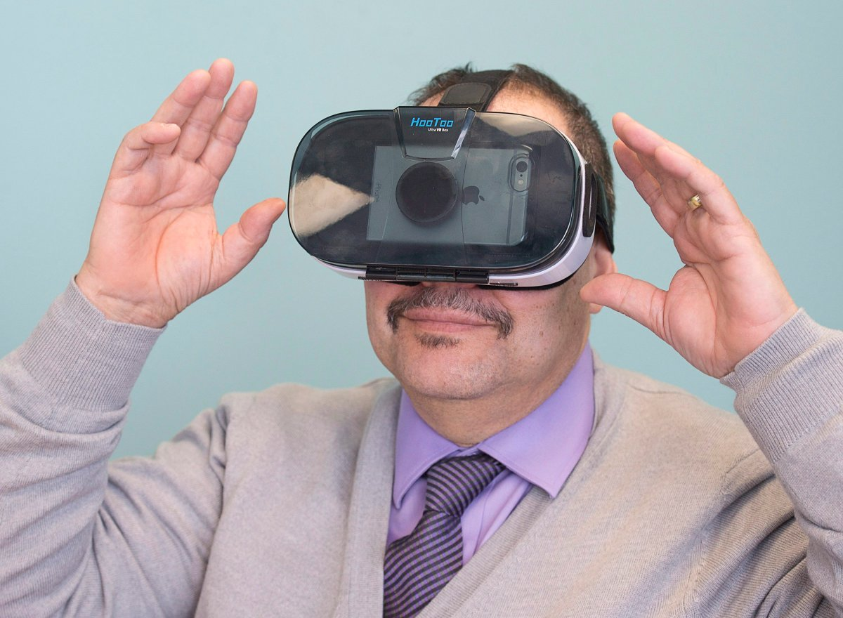 Gerry Morrison displays a virtual reality headset in Halifax on Thursday, March 30, 2017.
