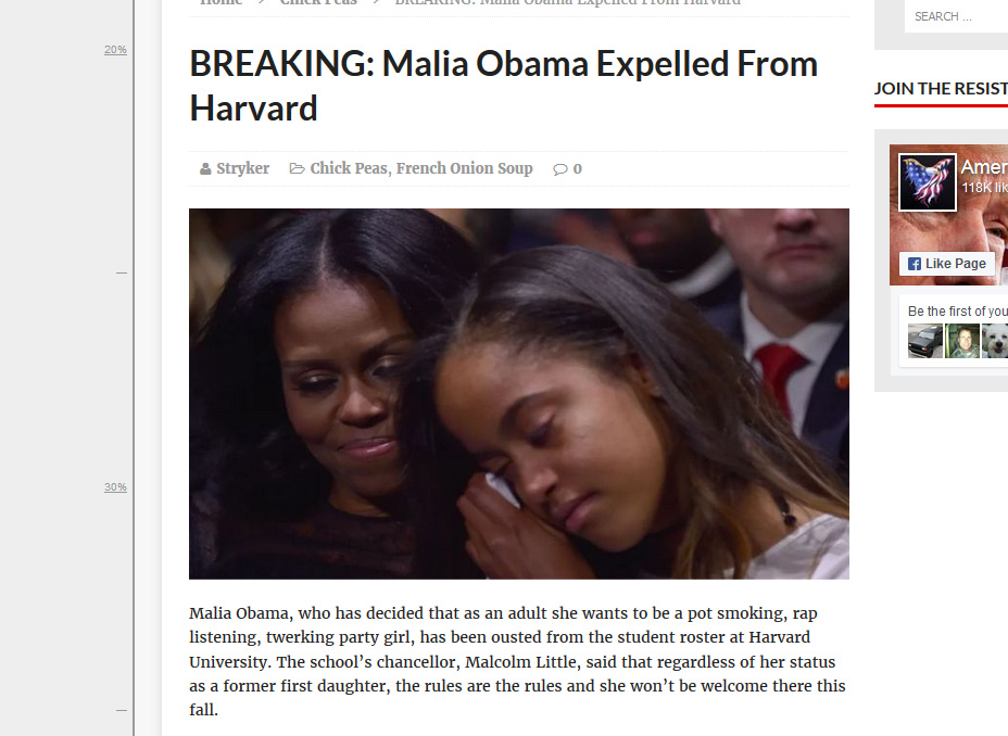The story above is easily disposed of. The most obvious issue is that Malia doesn't yet go to Harvard.