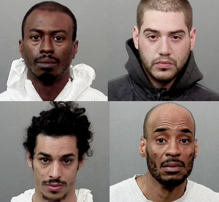 Montreal police have arrested four men in connection with 14 separate incidents. Pictured above, (From top to bottom, and left to right) Clayton Roach, 38 ans, Vincent Parent-Lévesque, 23, Yossi Avadov, 23, and James Craigwell, 43 were arrested April 15.