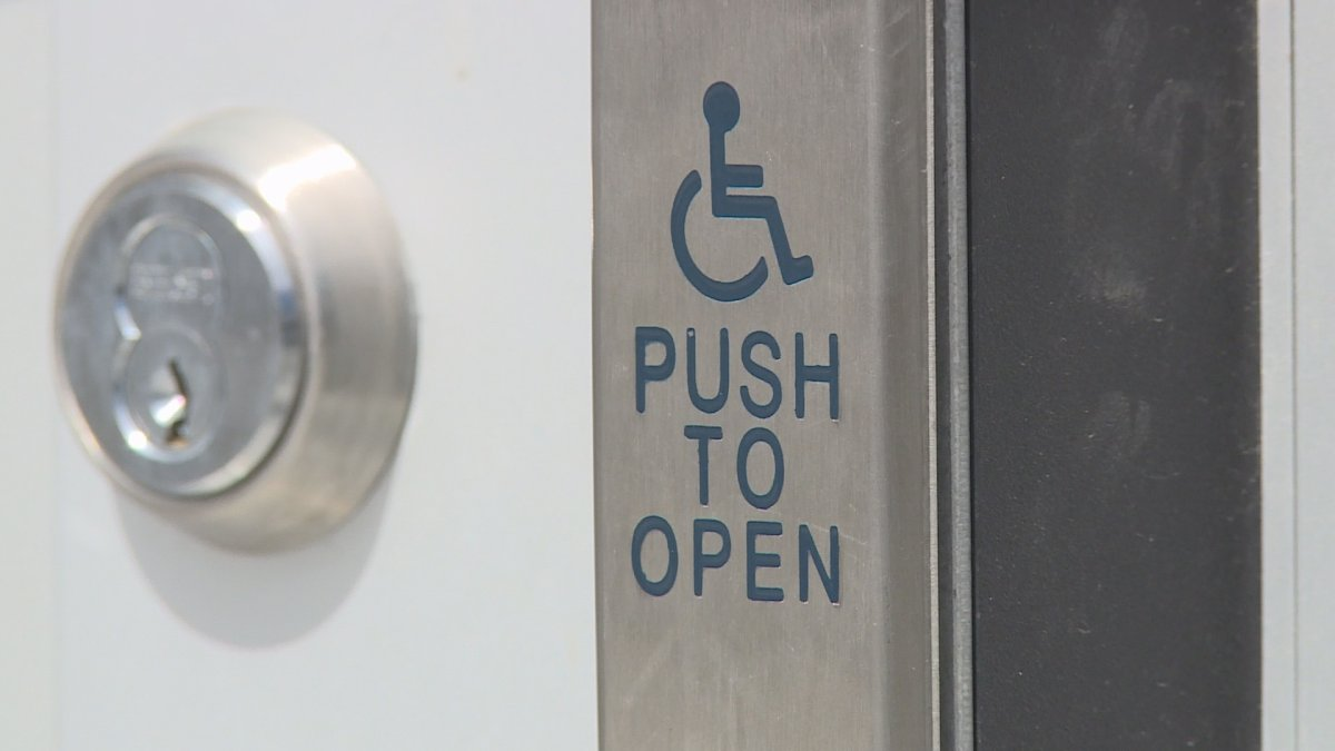 An accessible door button is pictured at Dalhousie University in Halifax on April 18, 2017.