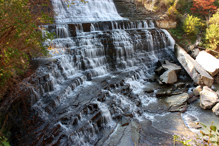 Visitors to Hamilton waterfalls, including Albion Falls, are encouraged to heed nearby signage.