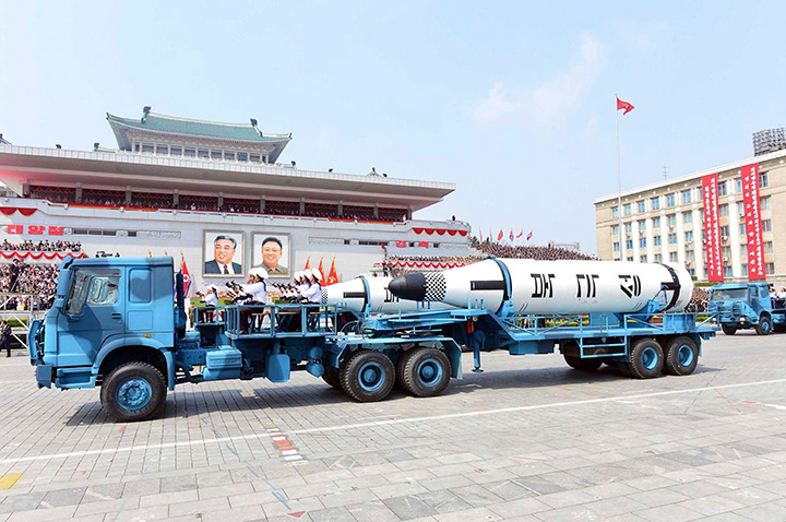 In this Saturday, April 15, 2017, photo distributed by the North Korean government, Polaris submarine launched ballistic missiles are paraded to celebrate the 105th birth anniversary of Kim Il Sung, the country's late founder, in Pyongyang.