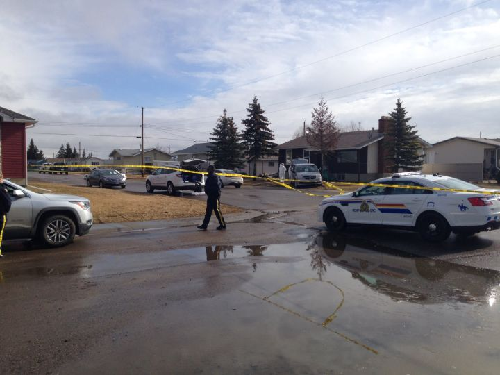RCMP investigate a double homicide in Chipman, Alta. Monday, April 3, 2017.