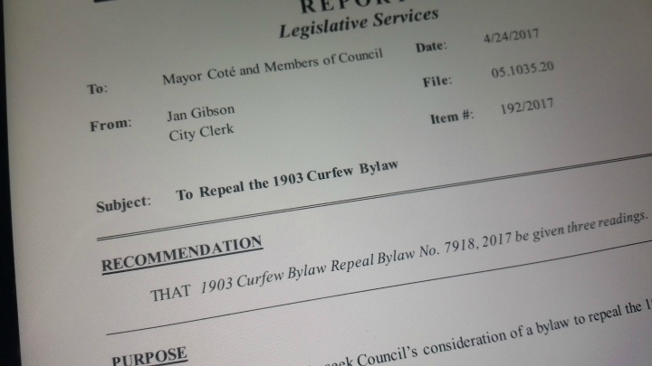 The City of New Westminster repealed a 114-year-old curfew bylawy on Monday night.