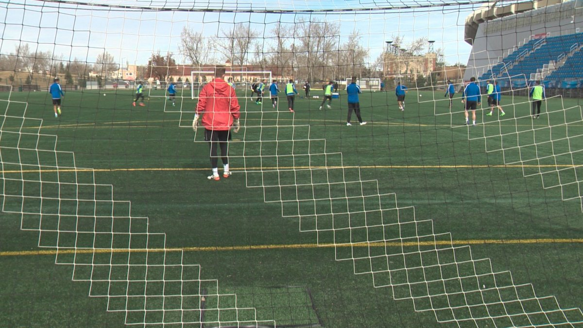 FC Edmonton players practice at Clarke Field on Wednesday, April 5 in preparation for their Saturday evening home opener against Jacksonville Armada FC.