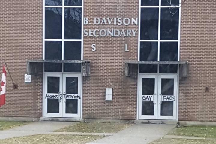 Graffiti at B. Davison Secondary School on Feb. 22, 2017.