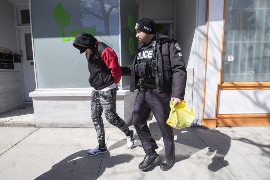 A man is led away in handcuffs during a series of arrests at a Toronto marijuana dispensary in April 2017.