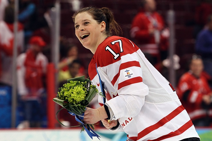 Jennifer Botterill celebrates after helping Canada win the gold medal in women's hockey at the 2010 Vancouver Olympics.