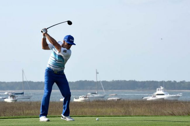 Graham DeLaet of Canada plays his tee shot on the 18th hole during the third round of the 2017 RBC Heritage at Harbour Town Golf Links on April 15, 2017 in Hilton Head Island, South Carolina.
