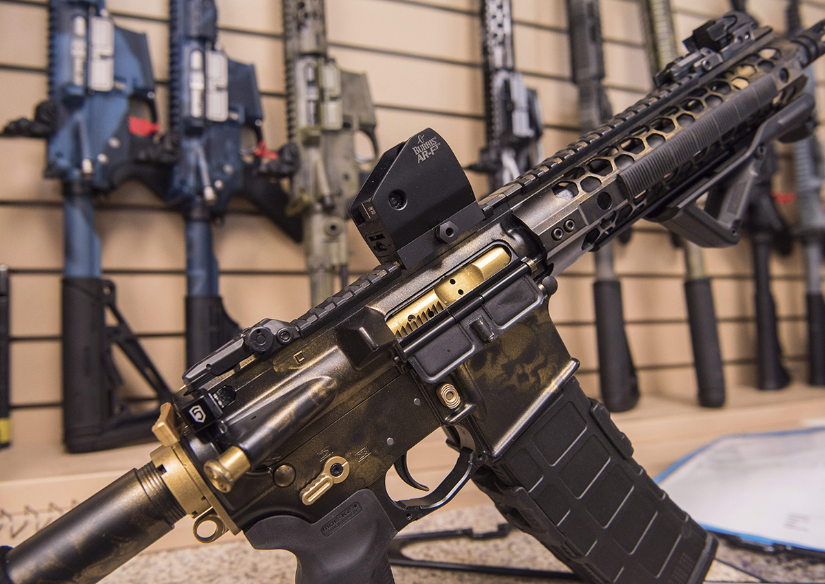 In this photo taken March 15, 2017, an AR-15 style  rifle manufactured by Battle Rifle Co. is display in Webster, Texas.