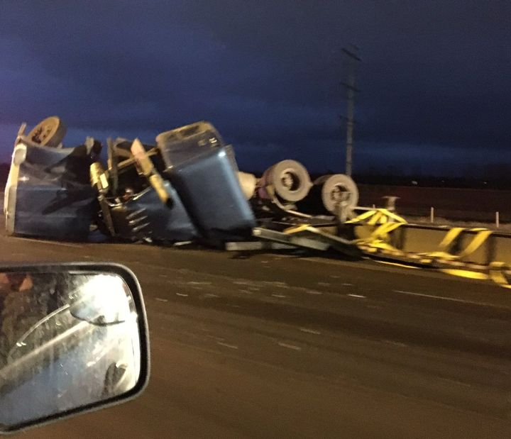 A semi rolled on Anthony Henday Drive at the Sherwood Park Freeway Thursday, April 6, 2017.
