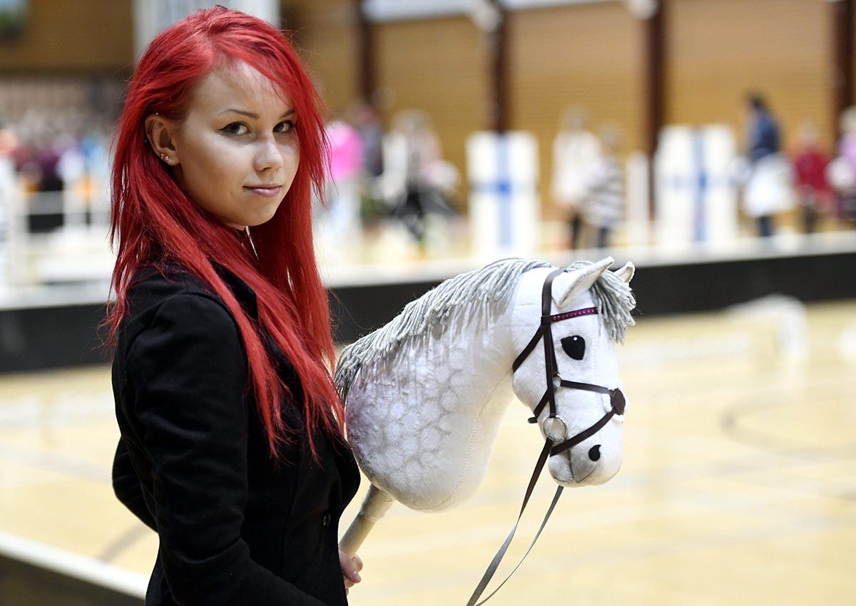 Alisa Aarniomäki at hobby horsing finnish championships in Vantaa, Finland on April 29th 2017.