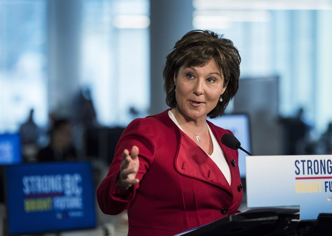 British Columbia Premier Christy Clark makes an announcement about the BC Liberals during a press conference at the Mobify offices in Vancouver, B.C. on Monday, April 10, 2017.