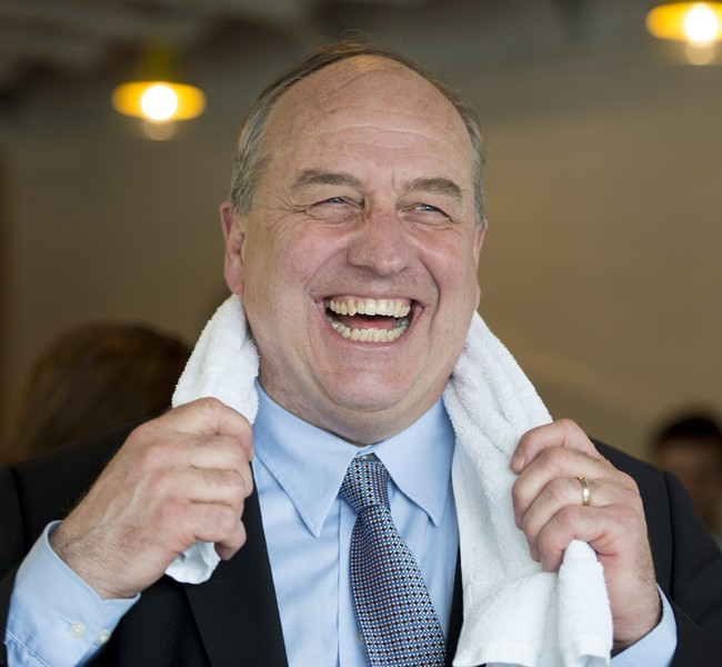 B.C. Green Party leader Andrew Weaver shares a laugh prior to a news conference in Vancouver, B.C., Monday, April 24, 2017.