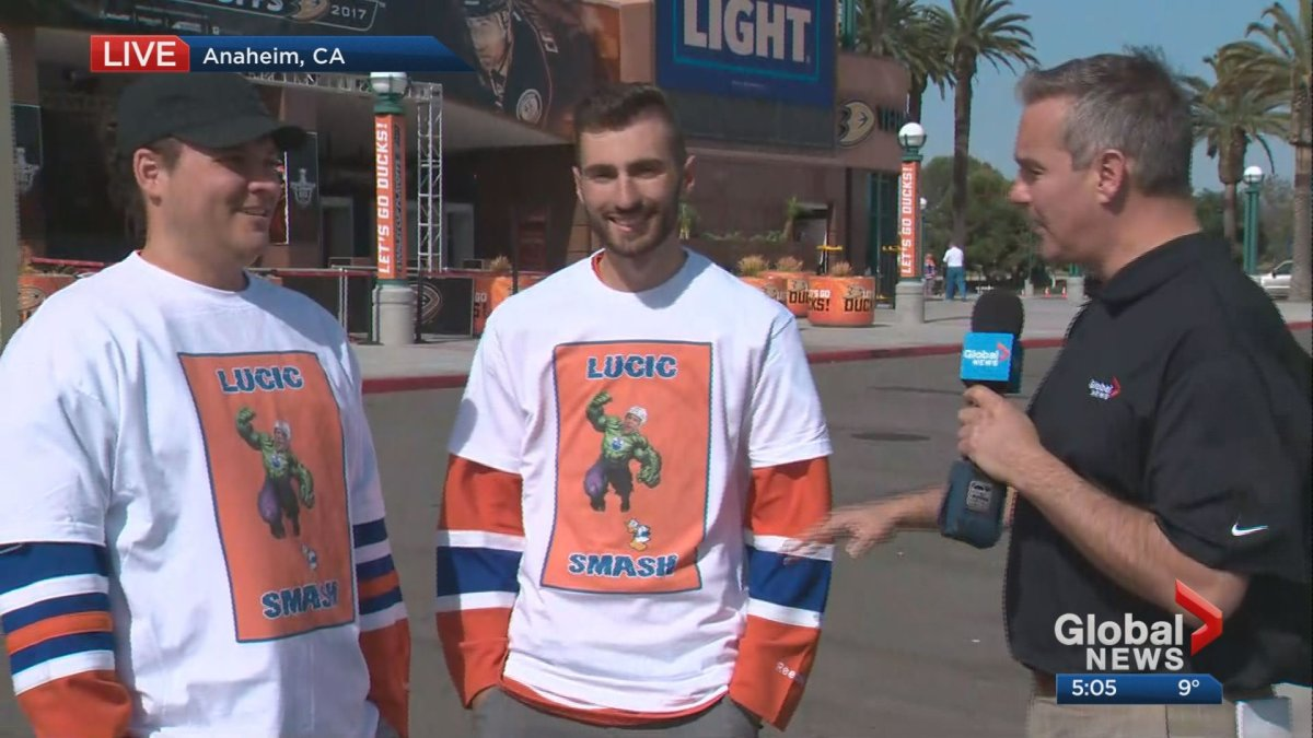 Kevin Karius interviews Milan Lucic's cousin and friend outside Anaheim's Honda Center ahead of Game 2 on Friday, April 28, 2017.