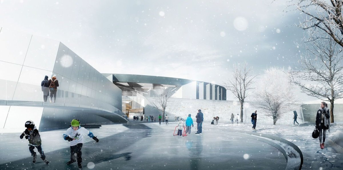 Designs for the Lewis Farms Recreation Centre.