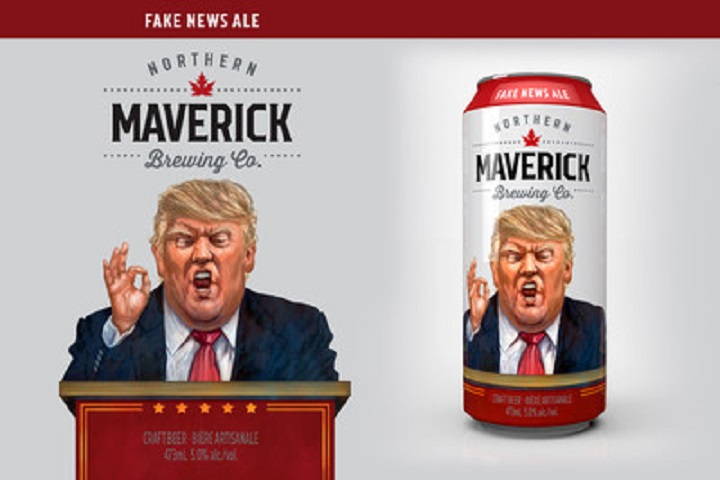 """A Toronto craft brewery has launch a Trump-inspired beer, """"Fake News Ale."""" CNW Group/Northern Maverick."""