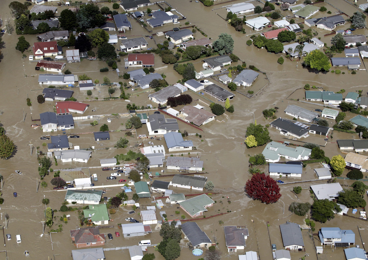 This photo shows the flooded streets of the North Island town of Edgecumbe in New Zealand, Thursday, April 6, 2017.