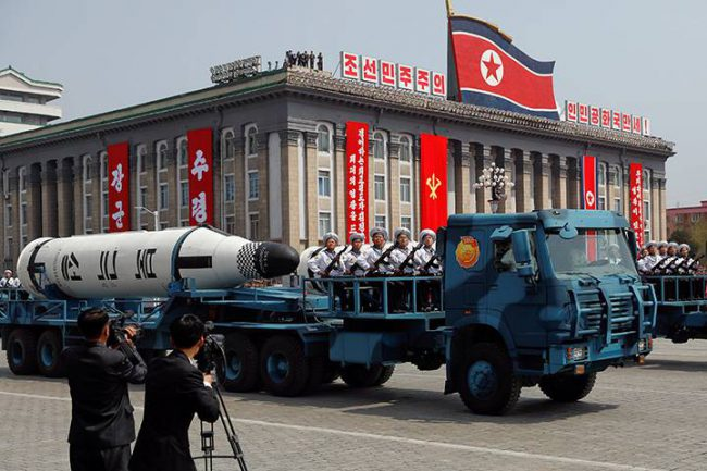 A North Korean navy truck carries a ballistic missile during a military parade marking the 105th birth anniversary of country's founding father, Kim Il Sung in Pyongyang, April 15, 2017.