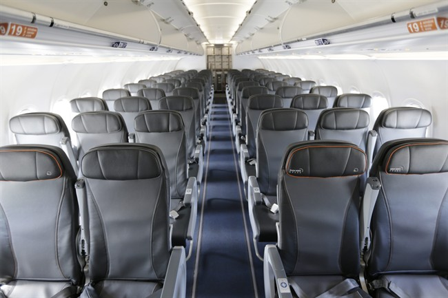 This Thursday, March 16, 2017, file photo shows the interior of a commercial airliner at John F. Kennedy International Airport in New York.