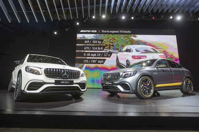 The Mercedes AMG GL63, left, and the Mercedes AMG GL63 Coupe are on display during a media preview at the New York International Auto Show, at the Jacob Javits Center in New York, Wednesday, April 12, 2017.