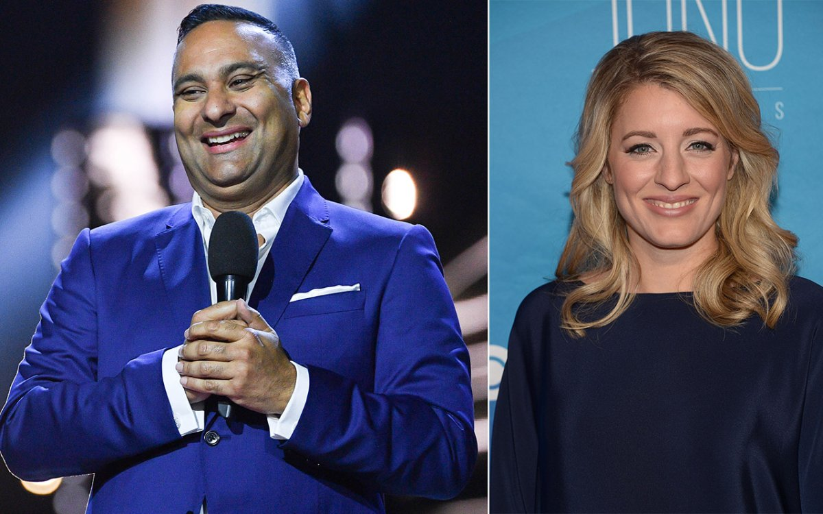 (L-R) Russell Peters, Mélanie Joly at the 2017 Juno Awards at The Canadian Tire Centre on April 2, 2017 in Ottawa, Canada.