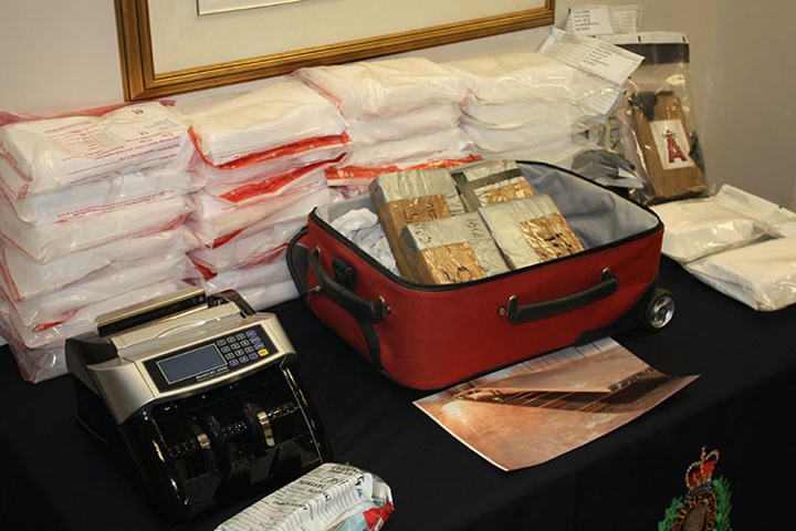 Police display some of the drugs that were seized by officers.
