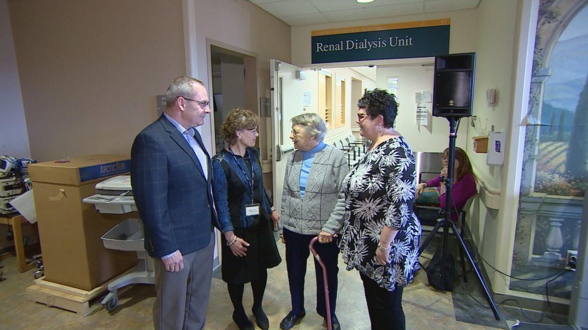 Minister Joanne Bernard, far right, is joined by health officers and former nurse Baker Mosher for an announcement about new dialysis chairs for the Halifax Infirmary site of the QEII and Dartmouth General Hospital.