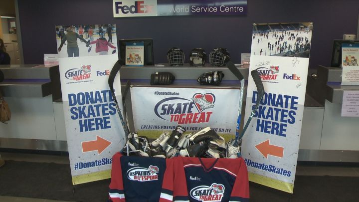 Skate to Great is collecting used skates, helmets, sticks and other skating and hockey equipment to donate to various schools and youth organizations across Canada.