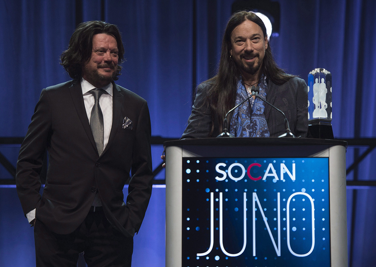 Paul Langlois and Rob Baker of The Tragically Hip accept the Rock Album of the Year at the Juno Awards dinner in Ottawa on April 1, 2017.