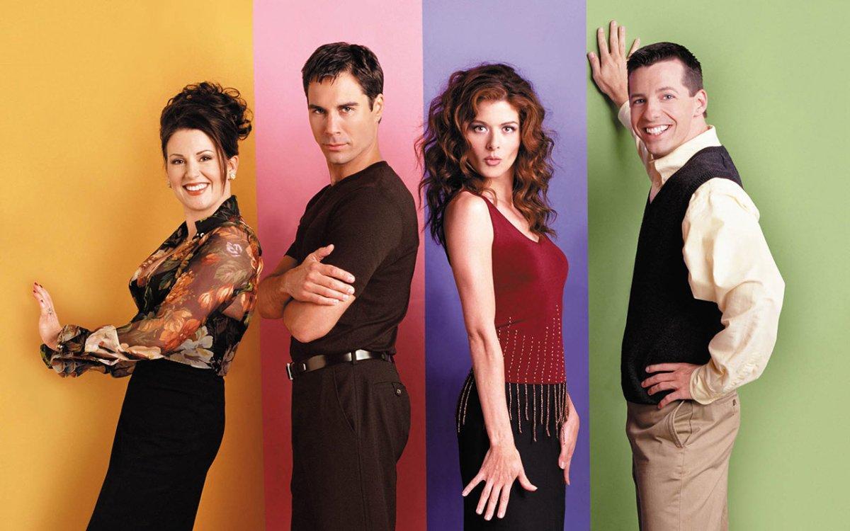 (l-r) Megan Mullally as Karen Walker, Eric McCormack as Will Truman, Debra Messing as Grace Adler, Sean Hayes as Jack McFarland.