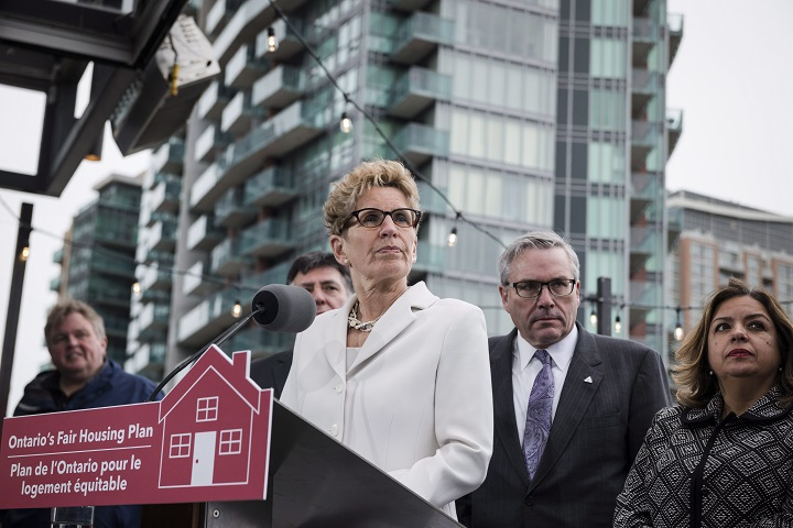 Ontario Premier Kathleen Wynne speaks about Ontario's Fair Housing Plan during a press conference in Toronto on Thursday, April 20.