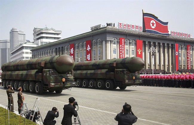 North Korea showed off its arsenal of missiles during this parade to celebrate the 105th birth anniversary of Kim Il-Sung in Pyongyang, North Korea, April 15, 2017.