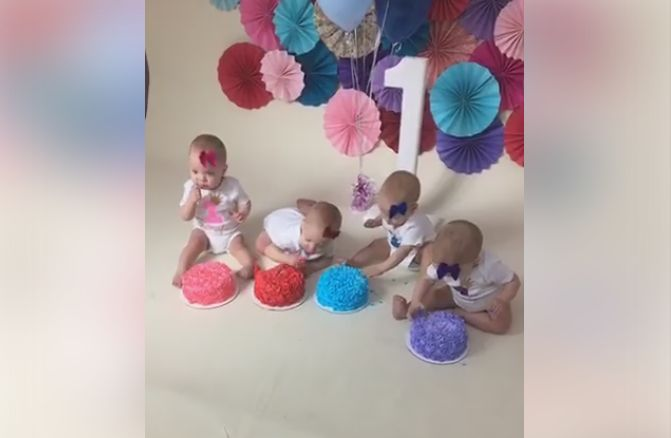 Abigail, Emily, Grace and McKayla Webb celebrate their first birthday on May 6, 2017.