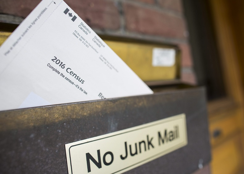 A copy of Statistics Canada's 2016 Long-Form Census mailer is seen in the mailbox of a residence in Toronto.