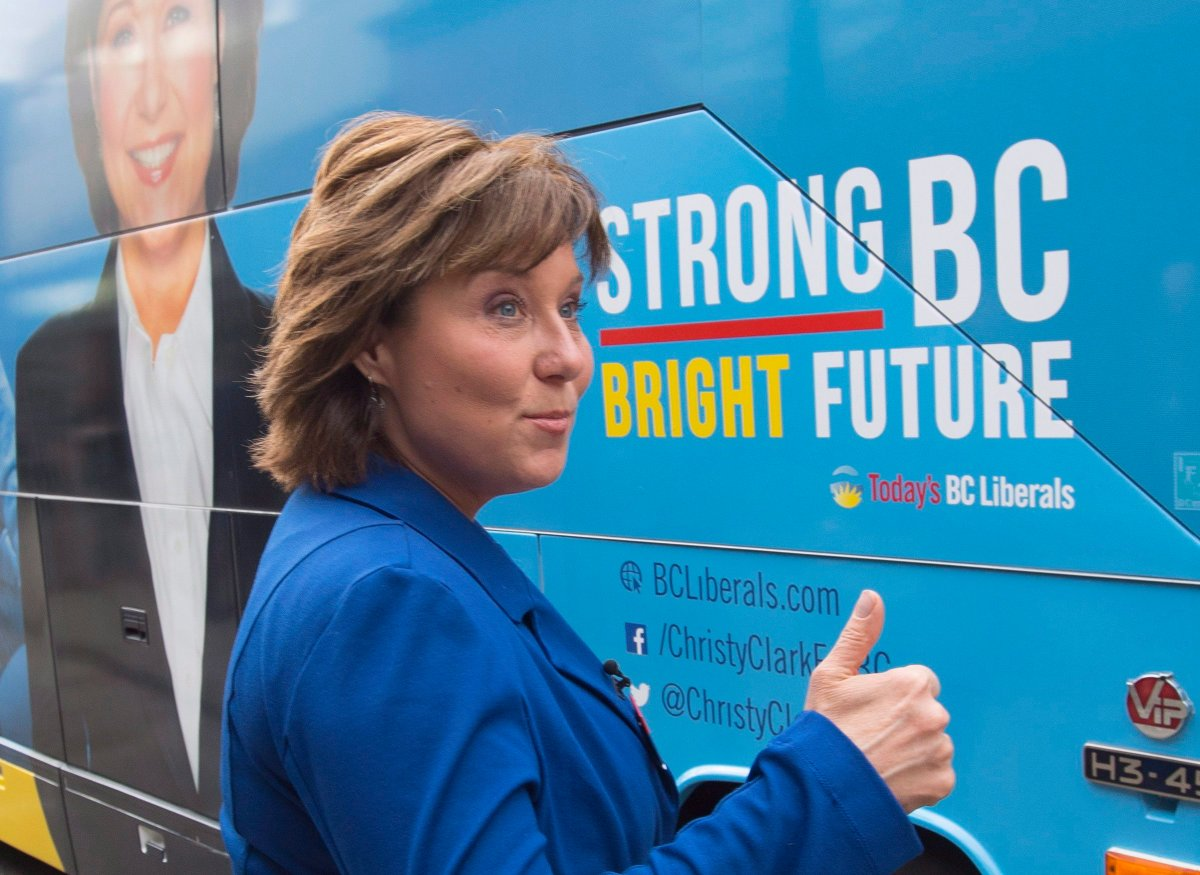B.C. Liberal leader Christy Clark gives the thumbs up as she makes a campaign stop in Hope, B.C., Monday, May 8, 2017.