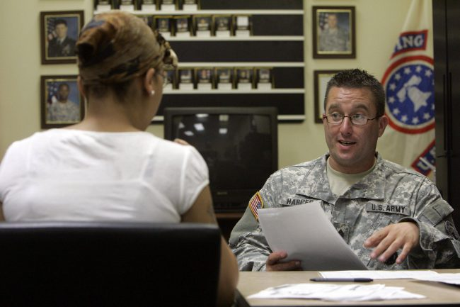 A prospective soldier meets with a U.S. Army recruiters at the U.S. Army Recruiting Station in Upper Darby, Pa., Aug. 8, 2007.
