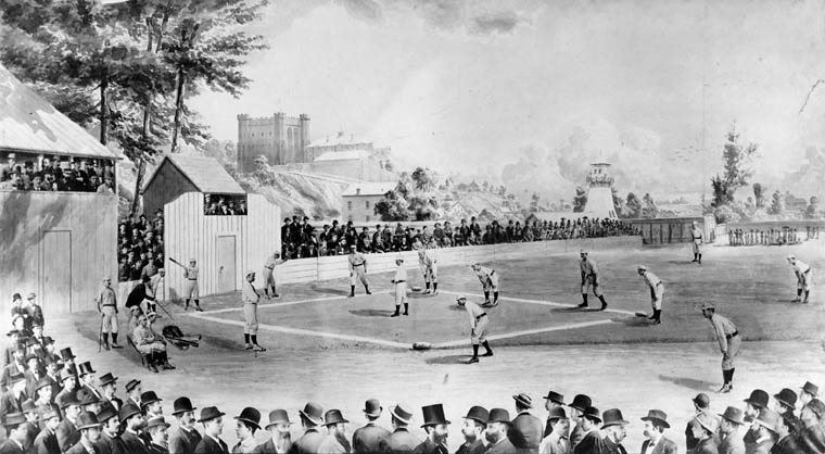 A baseball game between the London Tecumsehs and the Stars of Syracuse at Tecumseh Park in 1878.
